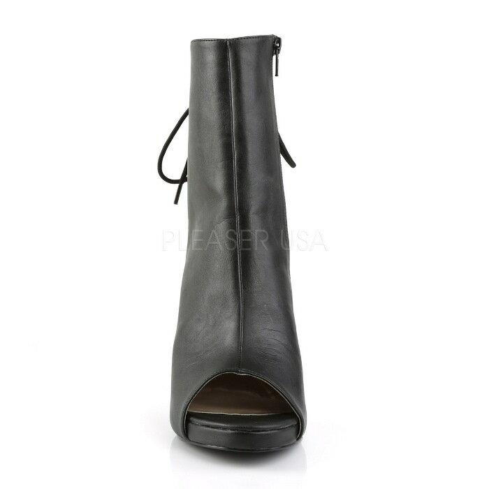 取寄せ靴  背面 レースアップ 編み上げ かかと つま先 オープン 厚底 ショート ブーツ ジッパー付き 12.5cmヒール 黒 ブラック フェイクレザー 大きいサイズあり イベント 仮装 女装 男装 パーティ- ハロウィン コスプレ