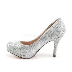 取寄せ靴きらきらラメかわいいラインストーン付きハイヒールビジュー薄厚底パンプス8.5cmヒール銀シルバーグリッターメッシュPleaserプリーザー大きいサイズあり行事式女装男装パーティ-LGBTファッション