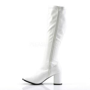 即納靴新品コスプレ系薄厚底ロングブーツサイドジッパー付き8cmチャンキーヒール白ホワイトつや消しFUNTAZMAファンタズマ大きいサイズあり行事式女装男装パーティ-LGBTファッション