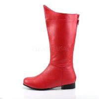 即納靴新品コスプレ系メンズにワイドな筒周りプラスサイズ薄厚底ロングブーツバックジッパー付き2.5cmヒール赤レッドつや消しFUNTAZMAファンタズマ大きいサイズあり行事式女装男装パーティ-LGBTファッション