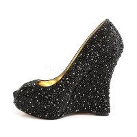 取寄せ靴新品ピープトゥウェッジソールきらきらラインストーン付き厚底パンプス13.5cmヒール黒ブラックサテン大きいサイズあり行事式女装男装パーティ-LGBTファッション02P03Dec16