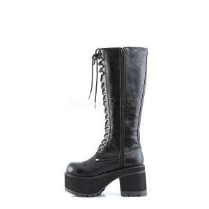 取寄せ靴送料無料新品メンズレディース兼用ゴスパンクロック系編み上げ厚底ロングブーツサイドジッパー付き厚底9cm黒ブラックつや消しDemoniaデモニア大きいサイズあり行事式女装男装パーティ-LGBTファッション