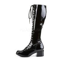 取寄せ靴新品コスプレ系レースアップ編み上げ薄厚底ロングブーツサイドジッパー付き5cmチャンキーヒール黒ブラックエナメルFUNTAZMAファンタズマ大きいサイズあり行事式女装男装パーティ-LGBTファッション