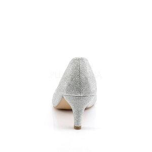 即納靴きらきらラメかわいいラインストーン付きビジューパンプス6.5cmキトゥンヒール銀シルバーグリッターメッシュPleaserプリーザー大きいサイズあり行事式女装男装パーティ-LGBTファッション