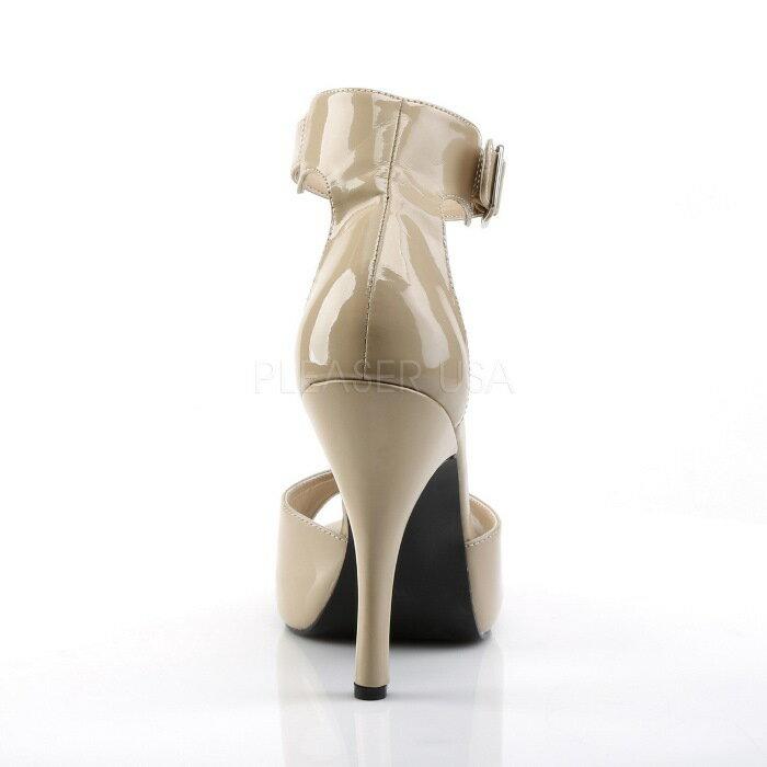 取寄せ靴  アンクルベルト 薄厚底 サンダル 12.5cmヒール クリーム エナメル 大きいサイズあり イベント 仮装 女装 男装 パーティ- ハロウィン コスプレ
