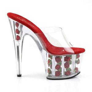 取寄せ靴新品ソールにかわいい薔薇入り厚底ミュールサンダル17.5cmピンヒールクリア赤レッドPleaserプリーザー大きいサイズあり行事式女装男装パーティ-LGBTファッション