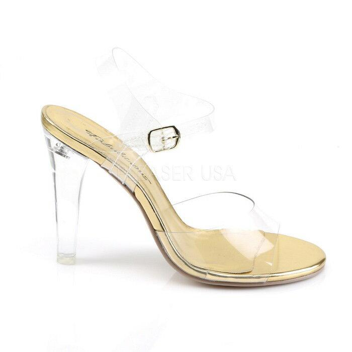 取寄せ靴  ベルト付き 薄厚底 サンダル 11.5cmヒール クリア 金 ゴールド 大きいサイズあり イベント 仮装 女装 男装 パーティ- ハロウィン コスプレ