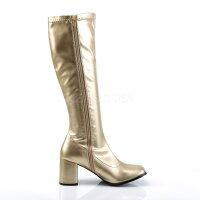 取寄せ靴新品コスプレ系薄厚底ロングブーツサイドジッパー付き8cmチャンキーヒール金ゴールドつや消しFUNTAZMAファンタズマ大きいサイズあり行事式女装男装パーティ-LGBTファッション