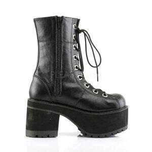 取寄せ靴送料無料新品パンクロック系編み上げ厚底ショートブーツサイドジッパー付き厚底9cm黒ブラックつや消しDemoniaデモニア大きいサイズあり行事式女装男装パーティ-LGBTファッション
