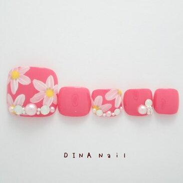 【ペディキュア】チェリーピンク花柄アート 足用ネイルチップ フットネイルチップ