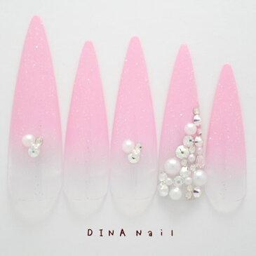 【ロングネイルチップ】ピンクラメグラデーション敷き詰めストーンデザインアートチップ 成人式 長いネイルチップ ブライダル 結婚式