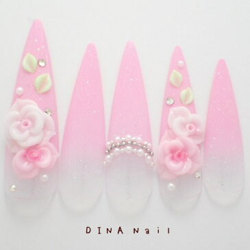 【ネイルチップ】【ロング】ピンクグラデーション3D薔薇アートパールビジューアート ブライダル ウェディング 結婚式