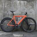 ピストバイク 完成車 LEADERBIKE 721 Matte Orange CUSOM BIKE リーダーバイクス 【自転車 バイク スポーツバイク 完成品 アルミ 軽量 カスタム カスタムバイク ベース フリーギア 固定ギア 初心者 シンプル おしゃれ オレンジ】 その1