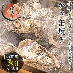 カキ牡蠣缶焼きかき3kg(殻付き約32〜42個)軍手ナイフ付き[送料無料]