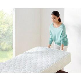 【セミダブル・2つ折りボンネルマット付】寝ごこちUPマットレス長持ちベッド