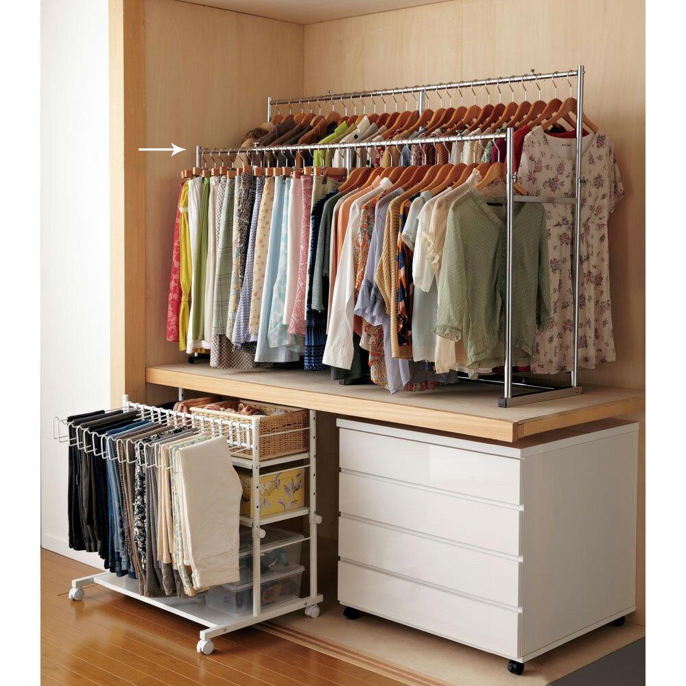家具 収納 衣類収納 パイプハンガー 幅と高さが変えられる 伸縮式頑丈押し入れハンガー 一間用 幅110〜180cm 555937
