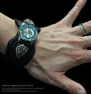 本革サドルレザーバイカーズウォッチ牛革時計ターコイズフェイスMサイズ