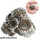スカル クロス ドクロ 十字架 メンズ シルバーリング メキシカンスカル メンズアクセサリー シルバー925 シルバーリング メ スターリングシルバー 指輪 銀 男性 女性 レディース good vibrations グッドバイブレーション・・・