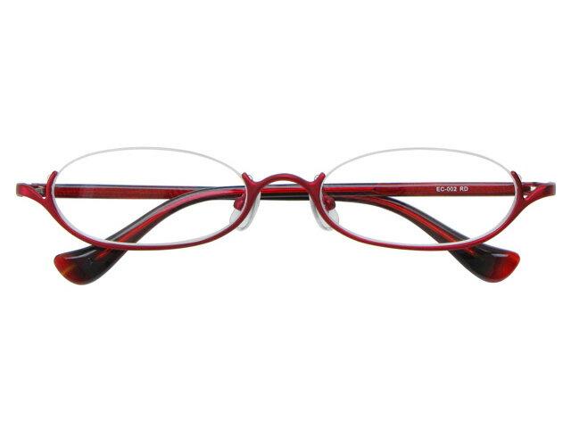 アンダーリム 逆ナイロール(メタルフレーム) メガネ 度付き/度なし/伊達メガネ オーバル レッド メガネセット EC002-RD10P03Dec16