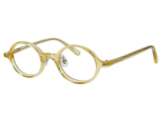 丸メガネ 丸眼鏡 丸めがね メガネ 度付き/度なし/伊達メガネ セルフレーム(プラスチック) ラウンド キハク(アメ色) 鼻パッド付 メガネセット EC004-YL10P03Dec16