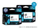 <インクカートリッジ> HP 61 インクカートリッジ 3色カラー・お買い得2個パック(CH562WA-AAAA)(3色カラー/染料インク/ヒューレットパッカード)