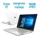 【9/15(火)限定 10%OFF&エントリーでポイント11倍】Core i7 16GBメモリ 256GB SSD + 1TB HDD 15.6型 FHD IPS液晶 HP Pavilion 15 (型番:2J885PA-AAAA) ノートパソコン Office付き 新品 セラミックホワイト