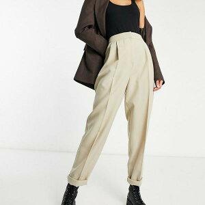 エイソス ASOS asos ASOSDESIGNモカのトールマンシースーツテーパードパンツ ボトム パンツ レディース 女性 インポートブランド 小さいサイズから大きいサイズまで
