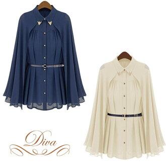 斗篷斗篷上衣長袖上衣襯衫雪紡衣領婦女大尺寸袖子袖子和深藍 / 米色 M L