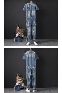 オーバーオール メンズ半袖 ダメージ オーバーオール メンズ ライトブルー オーバーオール 細身 サロペット レディース ユニセックス つなぎ 20代 30代 40代メンズサロペット スリム オーバーオール カジュアル ジャンプ スーツ 大きいサイズあり