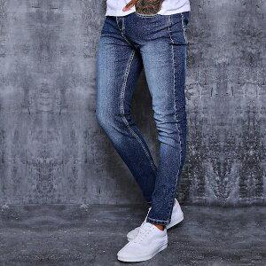boohoo(ブーフー)スキニージーンズ スキニーフィット スリムフィット ミッドブルー デニム スキニーデニム メンズ ジーンズ ジーパン メンズパンツ 大きいサイズ カジュアル トレンド 流行 アウトフィット インポート