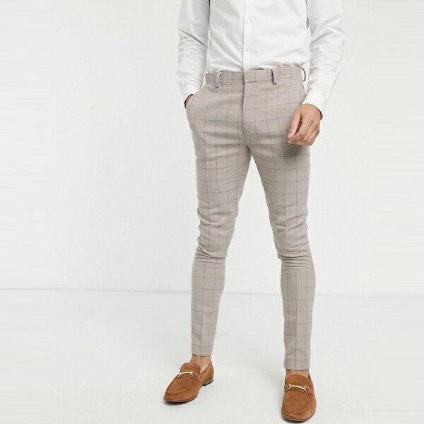 asos ASOS エイソス メンズ ASOS DESIGN ベージュ グリッド チェック ウール ミックス スーパースキニー スーツ ズボン 大きいサイズ インポート エクストリームスーパースキニーフィット スウェットパンツ ジーンズ ジーパン 20代 30代 40代 ファッション コーディネート