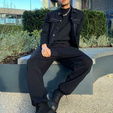 エイソス ASOS asos ASOS DESIGNレギュラーデニムジャケット、スタッズブラック アウター メンズ 男性 インポートブランド 小さいサイズから大きいサイズまで