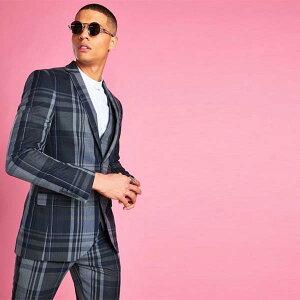 boohoo(ブーフー)スマート チェック スーツジャケットのみ インポートブランド ホスト 二次会 主役 結婚式 冠婚葬祭 パーティー スーツジャケット 小さいサイズ 大きいサイズあり メンズカジュアル ファッション