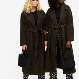モンキ Monki モンキブリックスオーバーサイズコート、ベルト付きブラウン ベルト レディース 女性 インポートブランド