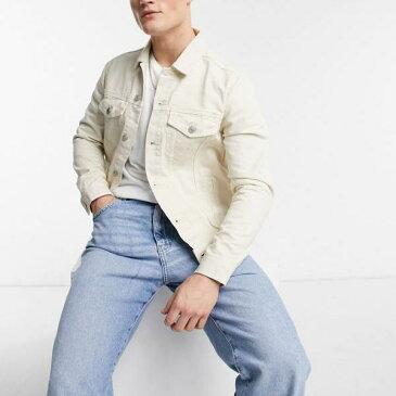 ニュールック New Look オフホワイトのニュールックデニムジャケット アウター メンズ 男性 インポートブランド 小さいサイズから大きいサイズまで