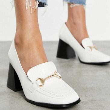 白いパテントクロックスのRAIDワイドフィットオレゴンヒールローファー 靴 レディース 女性 インポートブランド 小さいサイズから大きいサイズまで