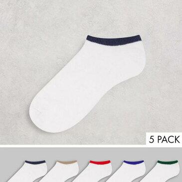 エイソス ASOS asos ASOS DESIGN5パックトレーナーソックス原色チップ付き 靴 メンズ 男性 インポートブランド 小さいサイズから大きいサイズまで