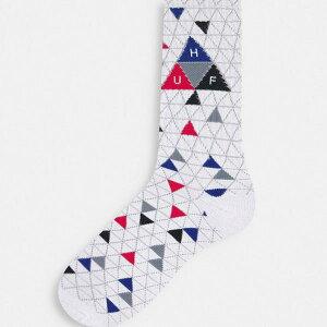 ハフ HUF Huf ホワイトのHUFトリプルトライアングル柄ソックス 靴下 ボトム メンズ 男性 インポートブランド