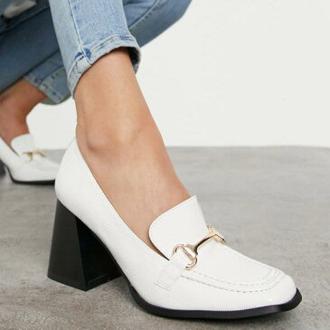 レイド Raid 白いパテントクロックスのRAIDオレゴンヒールローファー 靴 レディース 女性 インポートブランド 小さいサイズから大きいサイズまで