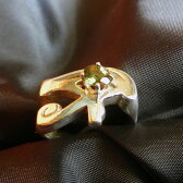 モルダバイトリング、ウジャトアイ、ホルスの目 Eye of Horus エジプシャンパワフルシンボル 第3の目、最強のプロテクション指輪18号K.Angel'sアミュレット リング