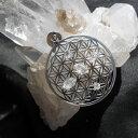 フラワーオブライフグリッドペンダントトップ、ハーキマーダイヤモンド、...