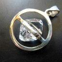 レインボー入り!ハーキマーダイヤモンド水晶原石ペンダントスターリング...