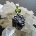 メテオライト(隕石)withペリドットナチュラルジェムストーン スターリング...