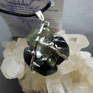 スターシードアミュレットペンダント Starseed 天然石&水晶ハンドメイドネックレスパーツ セレナイトービームオブライト ラブラドライト ハイパーステーン 水晶