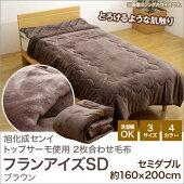 毛布セミダブル2枚合わせ洗える『フランアイズSD』ブラウン(1537379)