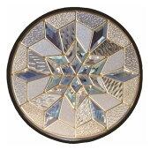 ステンドグラス(SH-K13)400×400×18mm円形デザイン雪結晶幾何学ピュアグラスKサイズ(約4kg)※代引不可