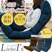 座椅子『リーベイス』ネイビーコンパクト低反発リクライニングフロアチェア青LB-DML-FIGO(NY)送料無料