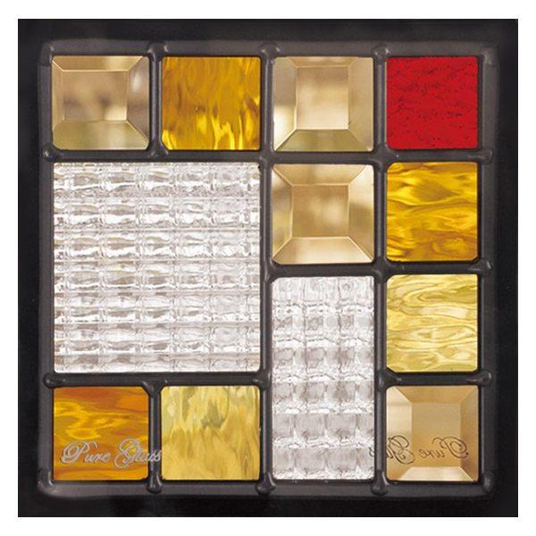【送料無料】【代引不可】 ステンドグラス (SH-D07) 200×200×18mm デザイン ピュアグラス Dサイズ (約1kg) ※代引不可