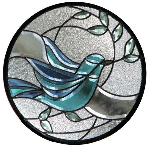 ステンドグラス (SH-K10) ハーフミラー 400×400×18mm 円形 デザイン 鳩 オリーブ ピュアグラス K...