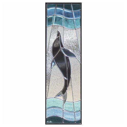 ステンドグラス (SH-C09) ハーフミラー 927×289×18mm デザイン 海 イルカ ピュアグラス Cサイズ ...